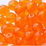 6mm Czech Pressed Glass Round Beads Transparent Pumpkin (25 Pieces)
