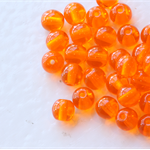 4mm Czech Pressed Glass Round Beads Transparent Pumpkin (50 Pieces)