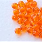 4mm Czech Pressed Glass Round Beads Transparent Pumpkin (50 Pieces)