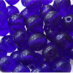 6mm Czech Pressed Glass Round Beads Transparent Royal Blue (25 Pieces)