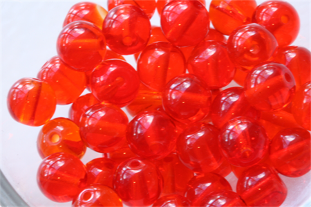 6mm Czech Pressed Glass Round Beads Transparent Light Red (25 Pieces)