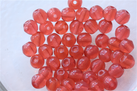 4mm Czech Pressed Glass Round Beads Transparent Dark Orange (50 Pieces)