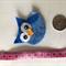 Blue owl felt embellishment