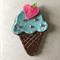 Blue ice cream felt embellishment