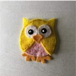 Yellow owl felt embellishment