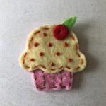 Yellow cupcake felt embellishment