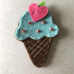 Blue ice cream felt embellishment