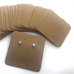 50 kraft jewellery display cards BROWN 5x5cm