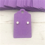 50 Kraft Earring Display Cards PURPLE Scalloped Edge 3x5cm