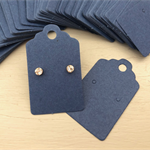 50 Kraft Earring Display Cards BLUE Scalloped Edge 3x5cm