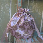 Pink Damask Drawstring Bag Material Bag Reusable Gift Bag Christmas Gift Bag