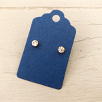100 Kraft Earring Display Cards BLUE Scalloped Edge 3x5cm