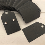 100 Kraft Earring Display Cards BLACK Scalloped Edge 3x5cm