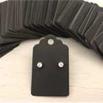 50 Kraft Earring Display Cards BLACK Scalloped Edge 3x5cm