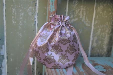 Pink Damask Drawstring Bag Material Bag Reusable Gift Bag Christmas Gift Bag
