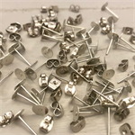 50 pairs Silver Tone Earring Posts with Backs 6mm