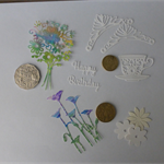 Coloured and White Die Cuts.   Postage Included