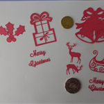Red Xmas Die Cuts. Postage Included
