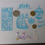 Blue & Multi Colour Die Cuts.   Postage Included