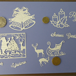 White Xmas Die Cuts.   Postage Included