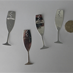 4 x Silver Wine Glass Die Cuts.  Postage Included