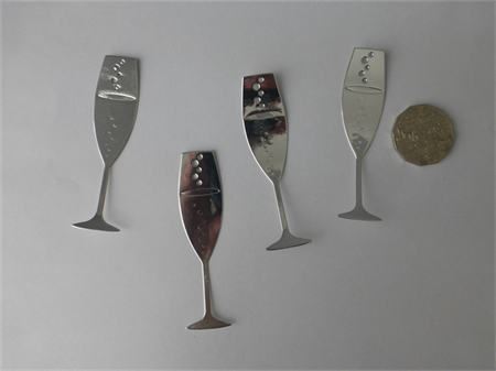 4 x Silver Wine Glass Die Cuts. 