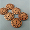 Large rustic robust wooden buttons featuring floral folkloric design