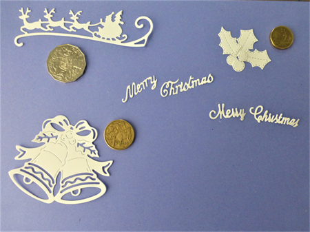 White Christmas Die Cuts.  Postage Included