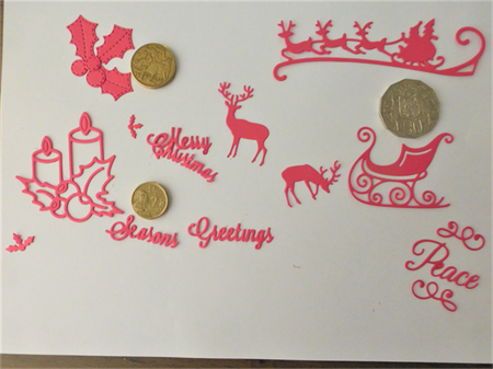 RED CHRISTMAS DIE CUTS.     Postage Included