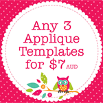 Any 3 PDF Applique Templates, You Choose Designs, Multiple Purchase Discount