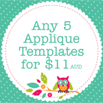 Any 5 PDF Applique Templates, You Choose Designs, Multiple Purchase Discount