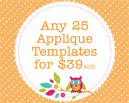 Any 25 PDF Applique Templates, You Choose Designs, Multiple Purchase Discount
