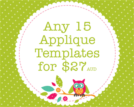 Any 15 PDF Applique Templates, You Choose Designs, Multiple Purchase Discount