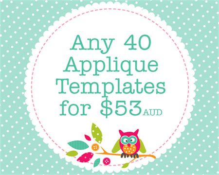 Any 40 PDF Applique Templates, You Choose Designs, Multiple Purchase Discount