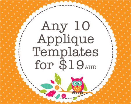 Any 10 PDF Applique Templates, You Choose Designs, Multiple Purchase Discount