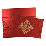 MAXICON RED SHIMMERY FLORAL THEMED - SCREEN PRINTED WEDDING CARD : IN-8235C