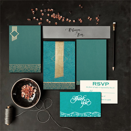 TEAL BLUE MATTE BOX THEMED - EMBOSSED WEDDING INVITATION