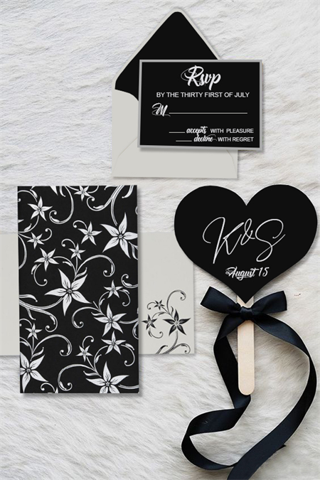 Gloriour Black Matte Floral Wedding Invitations