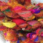 100 grams 1 skein recycled silk ribbon knitting crochet craft embellishment yarn