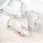 10 Kidney Leverback lever back silver plated ear wires earrings hooks