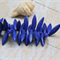 24 Indigo Blue tone Howlite stone top drilled spike beads 30x8mm
