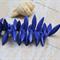 24 Indigo Blue tone Howlite stone top drilled spike beads 30x8mm