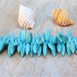 24 Turquoise Blue Howlite stone top drilled spike beads 30x8mm