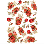 Rice Paper - Decoupage - 1 x A4 Size Sheet - Red Roses