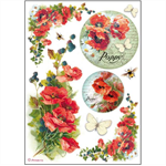Rice Paper - Decoupage - 1 x A4 Size Sheet - Poppy