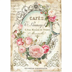 Rice Paper - Decoupage - 1 x A4 Size Sheet - Cafe Rose