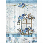 Rice Paper - Decoupage - 1 x A4 Size Sheet - Blue Window