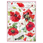Rice Paper - Decoupage - 1 x A4 Size Sheet - Botanic Poppies