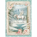 Rice Paper - Decoupage - 1 x A4 Size Sheet - Winter Unicorn