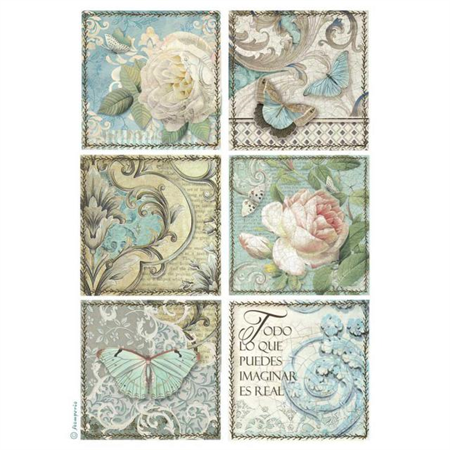 Rice Paper - Decoupage - 1 x A4 Size Sheet - Blue Postcards